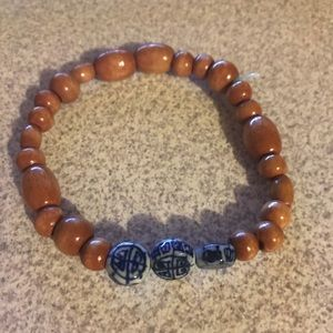 Brown and blue beads bracelet